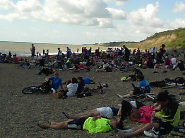 Cyclists on Dunwich beach